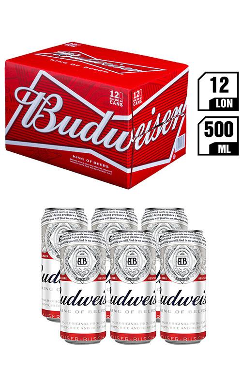 Bia Budweiser Lon 500ML - Thùng 12