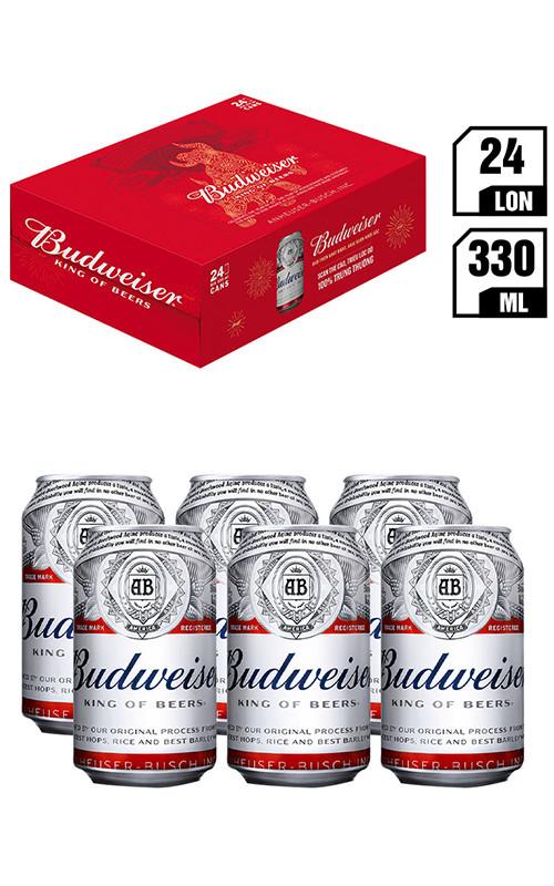 Bia Ngoại Nhập Budweiser Lon 330ML - Thùng 24
