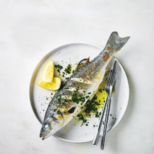 Grilled Seabass In White Wine Sauce