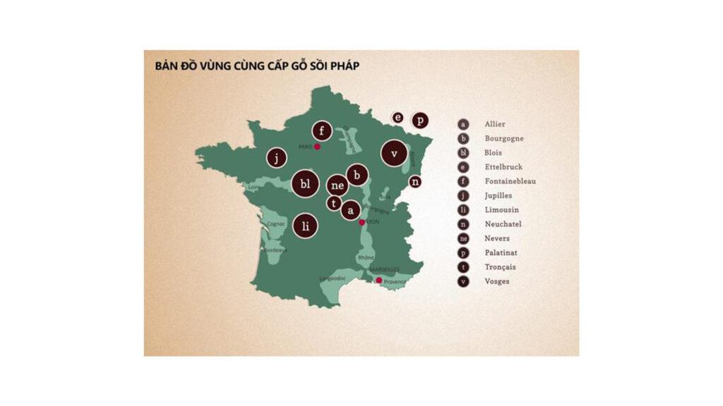 Bản Đồ Vùng Cung Cấp Gỗ Sồi Pháp