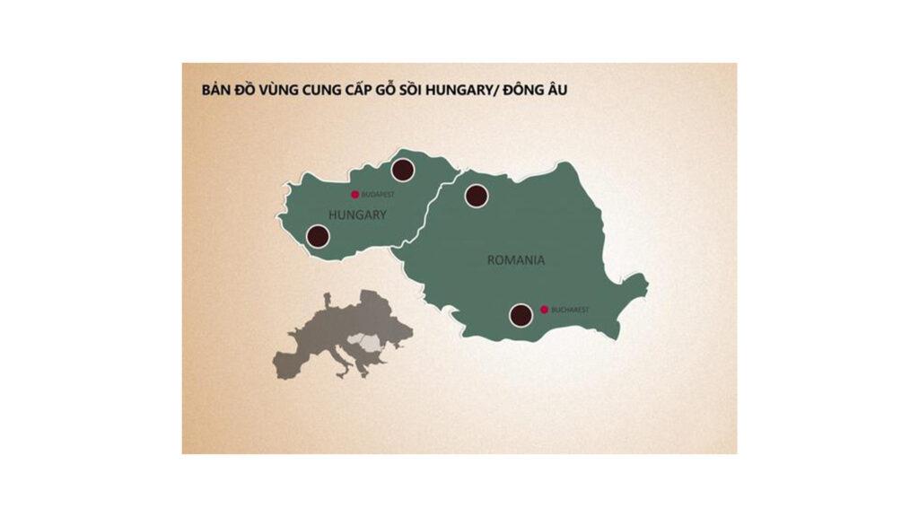 Bản Đồ Vùng Cung Cấp Gỗ sồi Hungary
