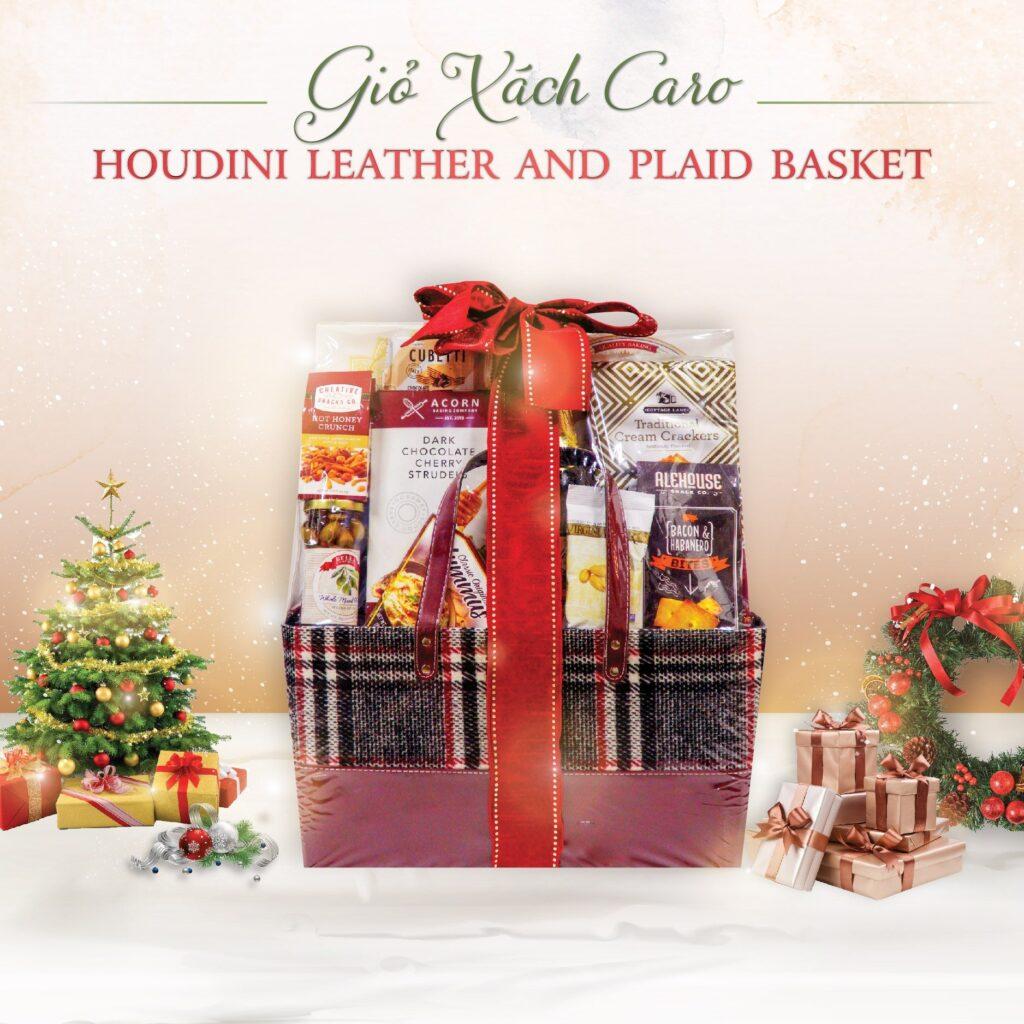 Quà Tết Giỏ Xách Caro Houdini Leather And Plaid Basket