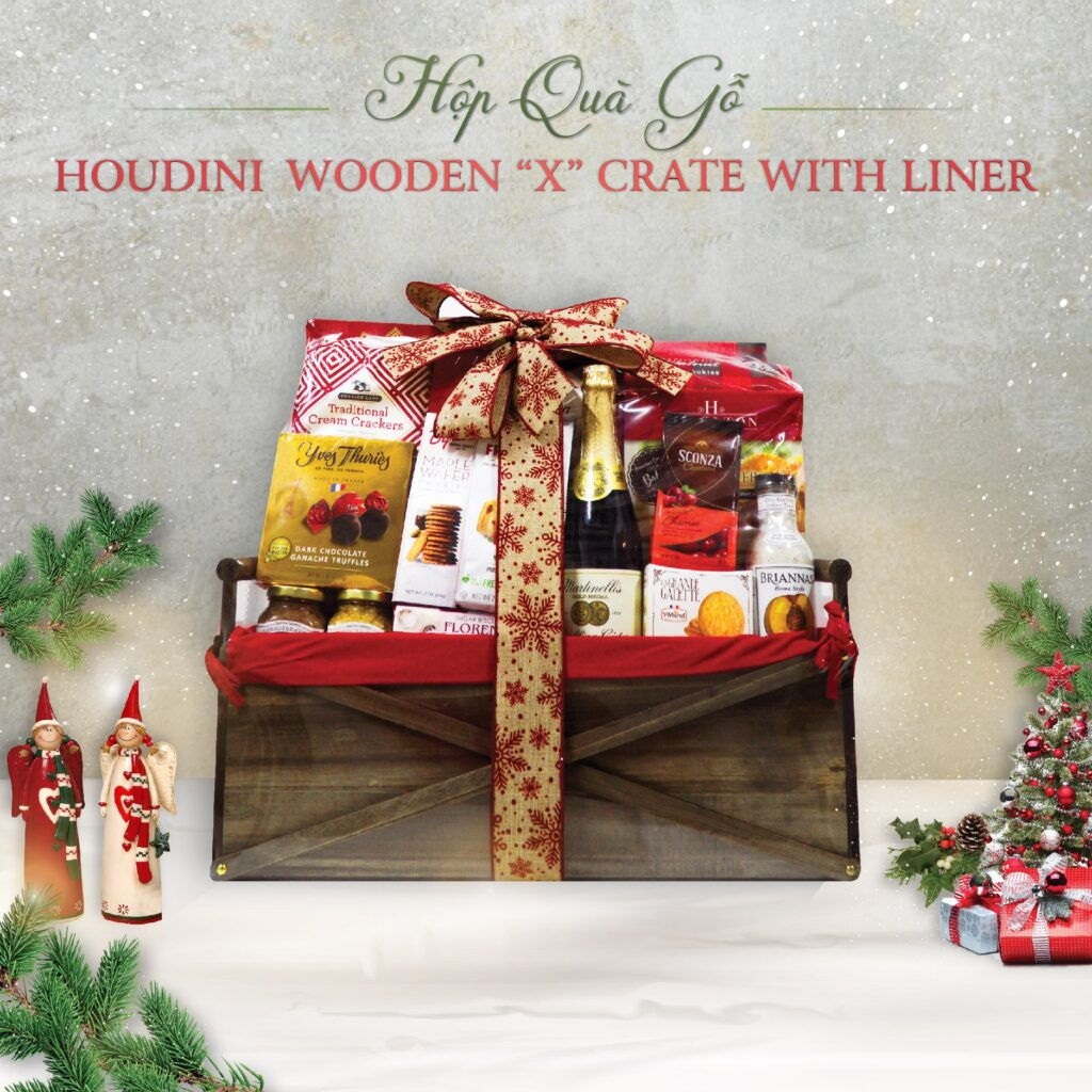 """Hộp Quà Gỗ Houdini Wooden """"X"""" Crate With Liner"""